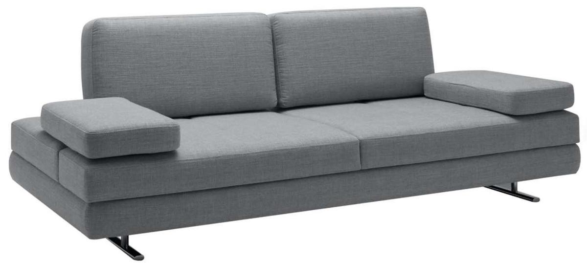 Casa Padrino Luxus Wohnzimmer Sofa mit umklappbaren Armlehnen Grau 218 x 108 x H. 81 cm - Luxus Möbel 2