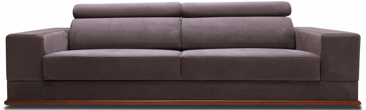 Casa Padrino Luxus Samt Sofa mit klappbaren Kopf & Nackenstützen Lila / Braun 240 x 110 x H. 67 cm - Modernes Schlafsofa - Wohnzimmermöbel 1