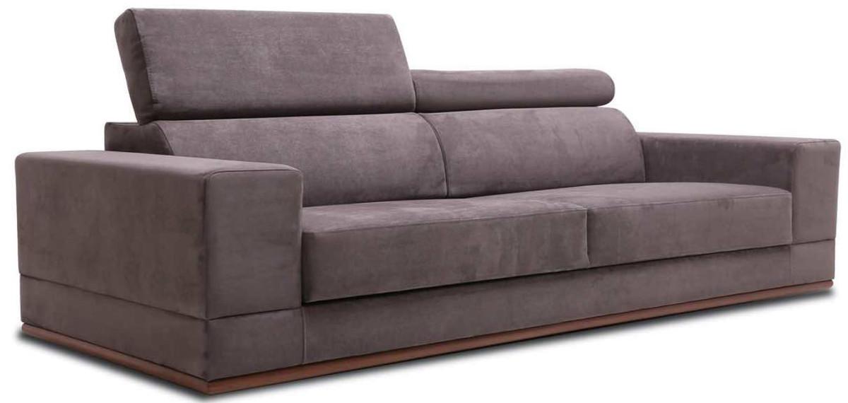 Casa Padrino Luxus Samt Sofa mit klappbaren Kopf & Nackenstützen Lila / Braun 240 x 110 x H. 67 cm - Modernes Schlafsofa - Wohnzimmermöbel 3