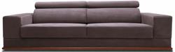 Casa Padrino luxury velvet sofa with foldable head & neck rests purple / brown 240 x 110 x H. 67 cm - Modern Sofa Bed - Living Room Furniture