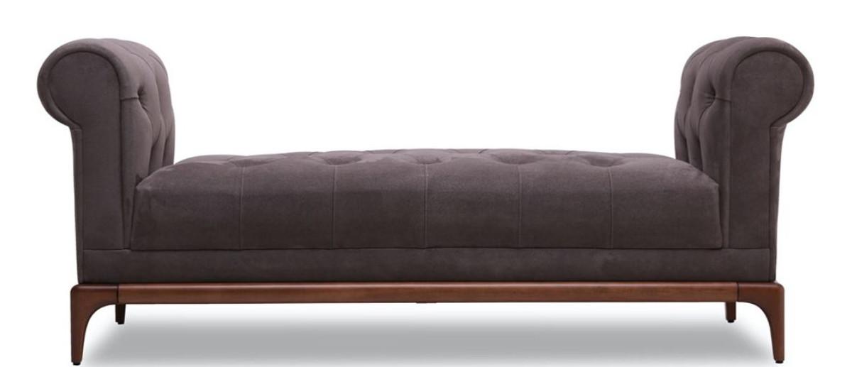 Casa Padrino Luxus Chesterfield Sitzbank Lila / Braun 150 x 58 x H. 67 cm - Moderne gepolsterte Massivholz Bank mit edlem Samtstoff - Luxus Qualität 2