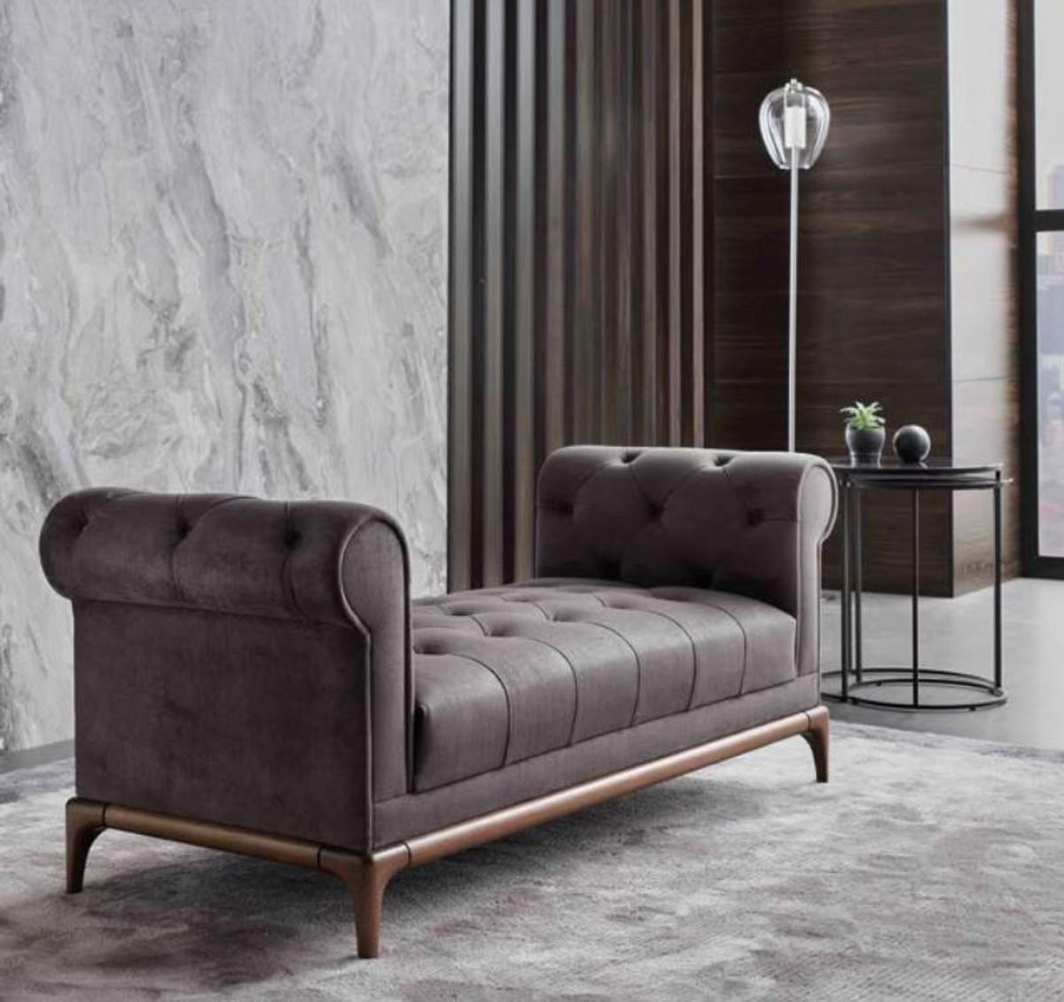 Casa Padrino Luxus Chesterfield Sitzbank Lila / Braun 150 x 58 x H. 67 cm - Moderne gepolsterte Massivholz Bank mit edlem Samtstoff - Luxus Qualität 3