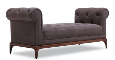 Casa Padrino Luxus Chesterfield Sitzbank Lila / Braun 150 x 58 x H. 67 cm - Moderne gepolsterte Massivholz Bank mit edlem Samtstoff - Luxus Qualität