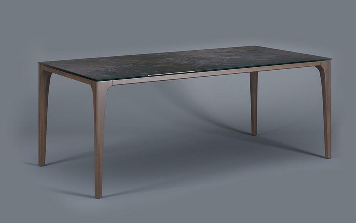 Casa Padrino Luxus Designer Esstisch mit Glasplatte in Halb Edelstein Optik  - High Class Esszimmer Tisch 2