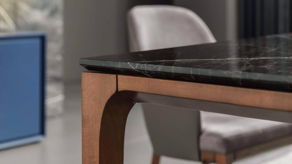 Casa Padrino Luxus Designer Esstisch mit Glasplatte in Halb Edelstein Optik  - High Class Esszimmer Tisch 4