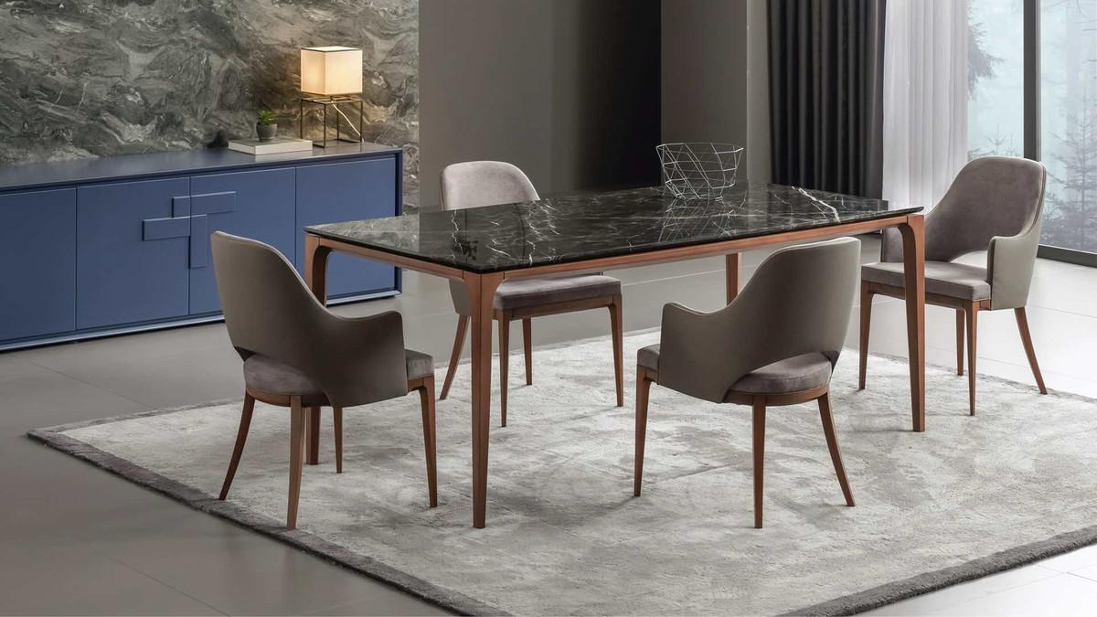 Casa Padrino Luxus Designer Esstisch mit Glasplatte in Halb Edelstein Optik  - High Class Esszimmer Tisch 5