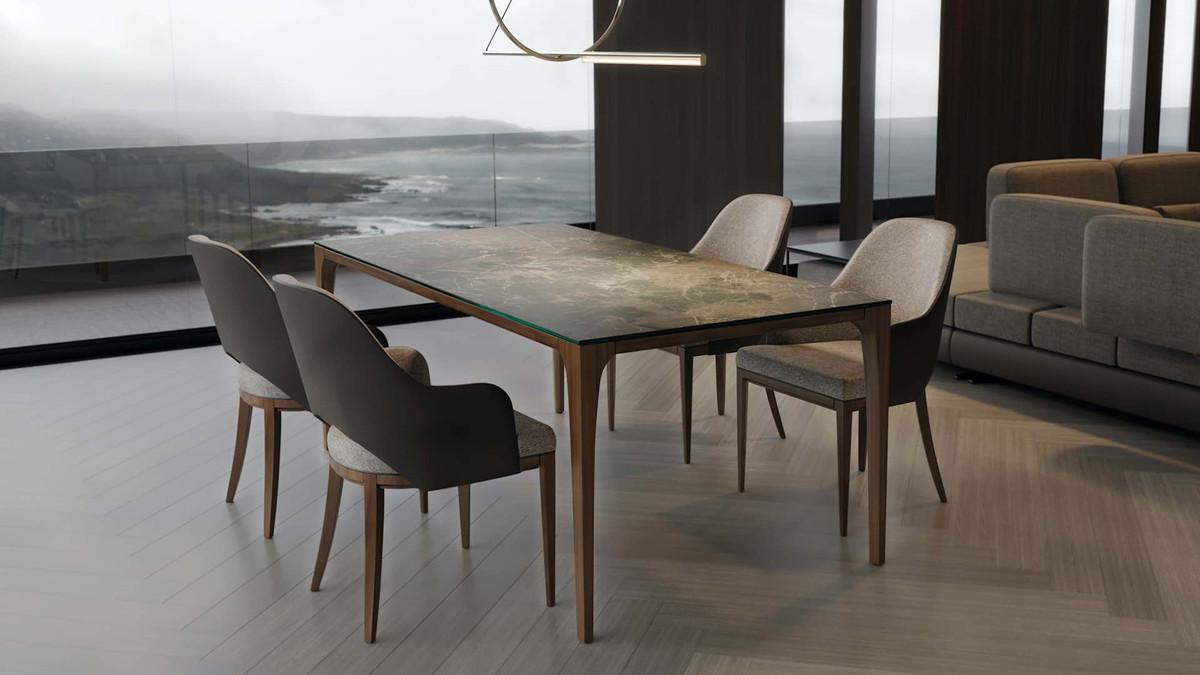 Casa Padrino Luxus Designer Esstisch mit Glasplatte in Halb Edelstein Optik  - High Class Esszimmer Tisch 6