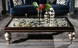 Casa Padrino luxury baroque coffee table dark brown / silver 167 x 92 x H. 48 cm - Ornate solid wood living room table with glass top - Luxury Quality