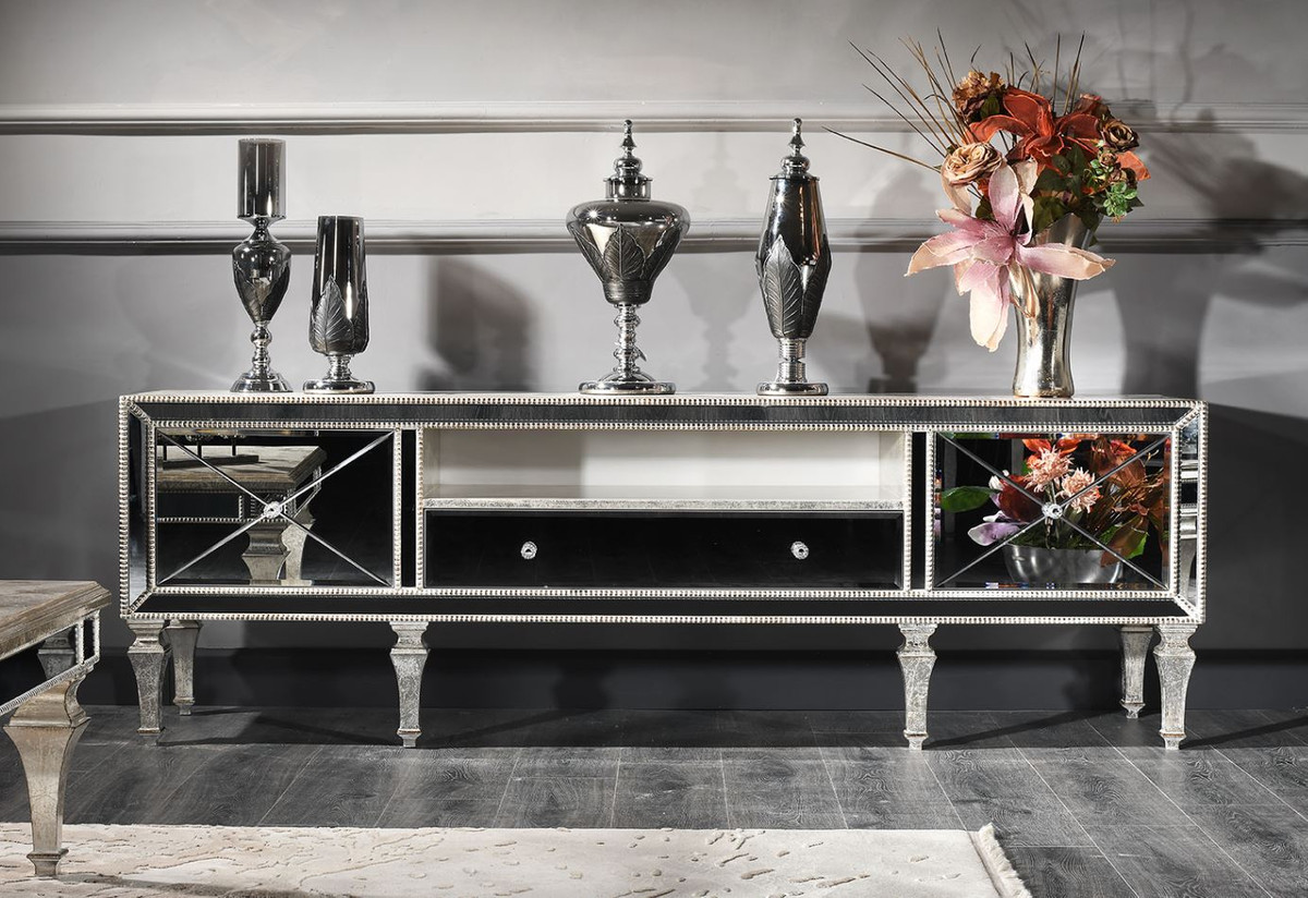 Casa Padrino Luxury Baroque Tv Cabinet With Mirror Glass Silver