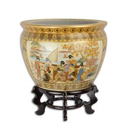 Casa Padrino antique style flower planter made of porcelain 36 x H39.2 cm on wooden base - flower pot plant pot baroque antique style china design