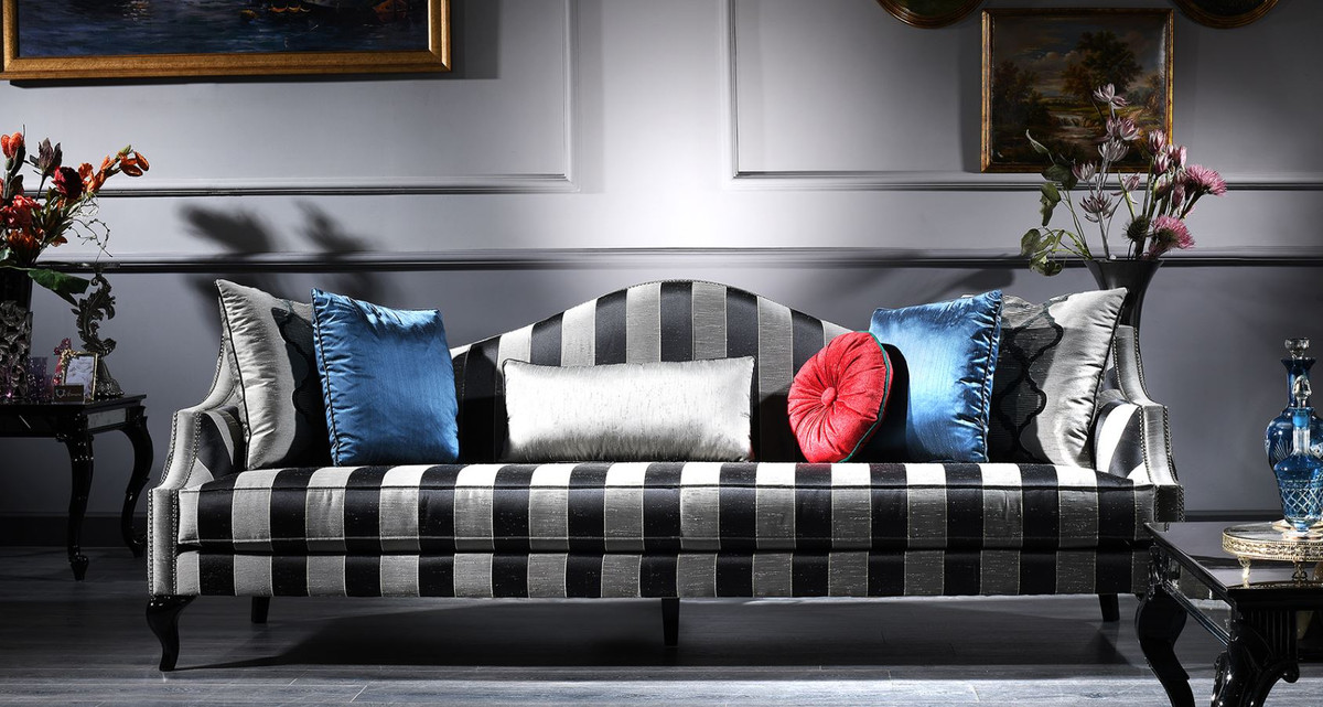 Casa Padrino Luxury Baroque Sofa Silver Black 245 X 92 X H 93 Cm Striped Living Room Sofa Baroque Furniture