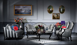 Casa Padrino luxury baroque living room set silver / black - 2 Sofas & 2 Armchairs & 1 Coffee Table & 2 Side Tables - Living room furniture in baroque style - Noble & Ornate