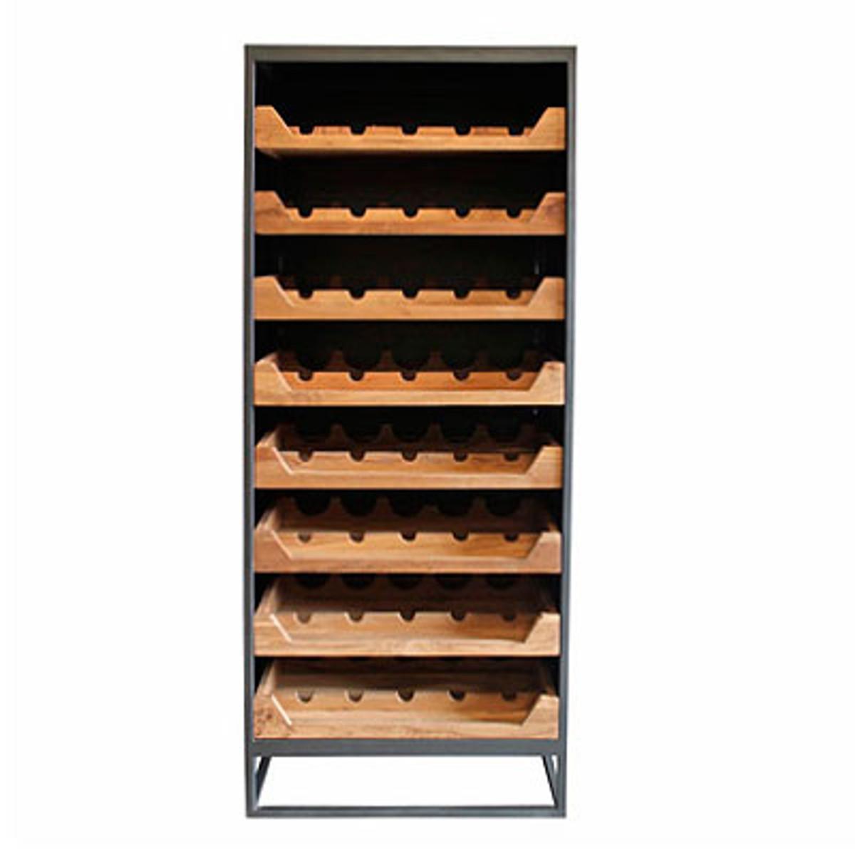Casa Padrino Industrial Look Weinschrank 67x45x183cm Metall Holz Weinregal