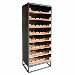 Casa Padrino industrial look wine cabinet 67x45x183cm metal / wood - wine rack