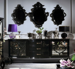 Casa Padrino luxury baroque living room set black / gold - Ornate chest of drawers and 3 wall mirrors - Baroque Furniture - Luxury Quality