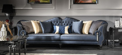 Casa Padrino luxury baroque living room sofa blue / silver / black 300 x 94 x H. 88 cm - Noble & Magnificent