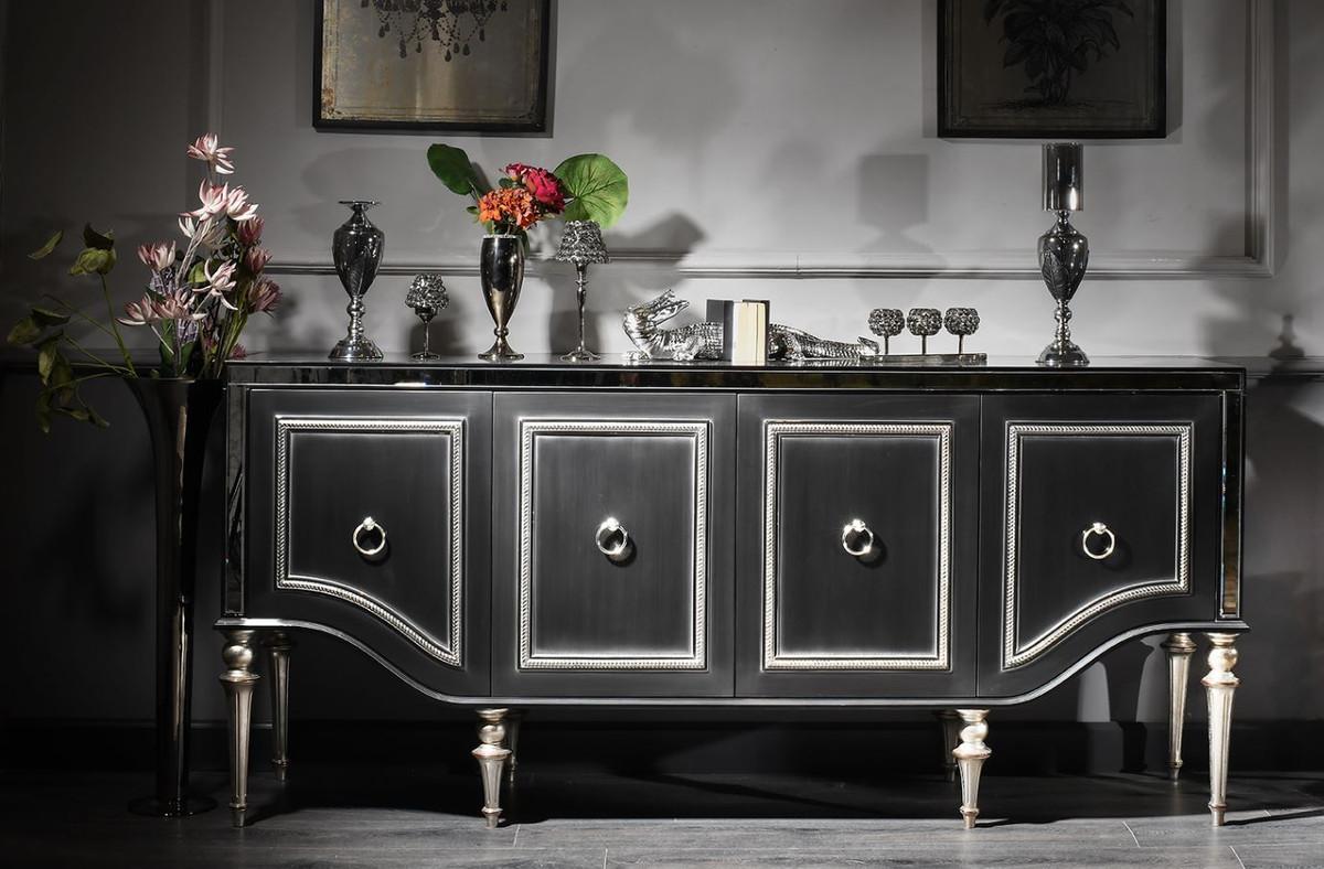 Casa Padrino Luxus Barock Sideboard Schwarz / Silber 9 x 9 x H. 9 cm -  Wohnzimmerschrank mit Glasplatte und 9 Türen - Luxus Barock Wohnzimmer