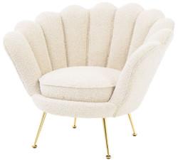Casa Padrino designer Art Deco living room armchair white / brass 96.5 x 79 x H. 78 cm - Luxury Living Room Furniture