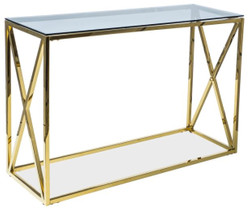 Casa Padrino luxury console gold / gray 120 x 40 x H. 78 cm - Stainless steel console table with glass top - Luxury Furniture