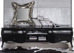 Casa Padrino luxury neo baroque TV chest of drawers black high gloss 220 x 53 x 53 cm - neo-baroque TV cabinet sideboard