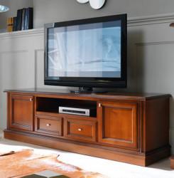 Casa Padrino luxury Biedermeier TV chest of drawers 200 x 50 x H 61 cm - sideboard TV cabinet brown wood colors furniture