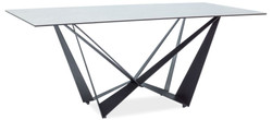 Casa Padrino designer dining table with glass top in marble look gray / black 180 x 90 x H. 76 cm - Luxury Dining Room Furniture