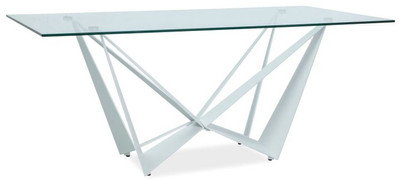 Casa Padrino designer dining table with tempered glass top white 180 x 90 x H. 76 cm - Luxury Dining Room Furniture – Bild 1