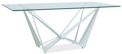 Casa Padrino designer dining table with tempered glass top white 180 x 90 x H. 76 cm - Luxury Dining Room Furniture