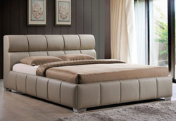 Casa Padrino luxury double bed cappucciono 176 x 237 x H. 93 cm - Solid wood bed with faux leather - Bedroom Furniture