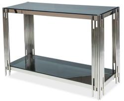Casa Padrino Luxus Konsole Silber / Schwarz 120 x 40 x H. 78 cm - Edelstahl Konsolentisch mit getönten Glasplatten - Luxus Möbel