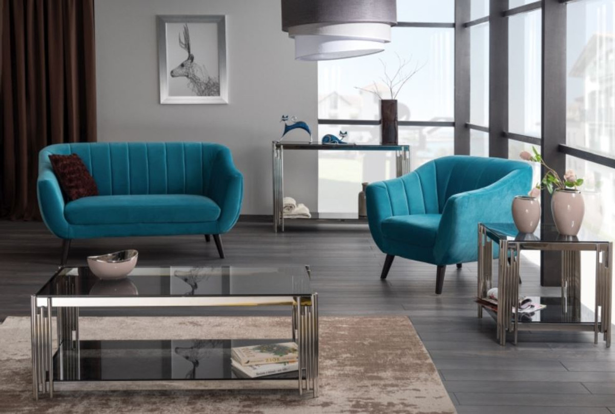 - Casa Padrino Luxury Coffee Table Silver / Black 120 X 60 X H. 40