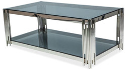 Casa Padrino luxury coffee table silver / black 120 x 60 x H. 40 cm - Stainless steel living room table with tinted glass tops - Luxury Furniture