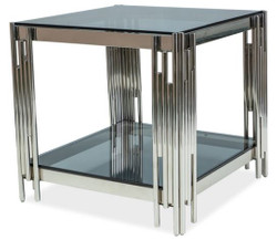 Casa Padrino luxury side table silver / black 55 x 55 x H. 55 cm - Stainless steel table with tinted glass tops - Luxury Furniture