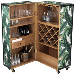 Casa Padrino luxury wine cabinet with wheels green / white / black / gold 58 x 58 x H. 122 cm - Cocktail cabinet - Luggage cabinet in a retro look - Bar cabinet in a vintage suitcase design