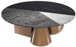 Casa Padrino luxury coffee table black / white / gray / copper Ø 120 x H. 42.5 cm - Round living room table with 3-colored faux marble table top - Luxury Furniture