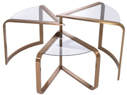 Casa Padrino designer stainless steel side table with glass tops copper 109 x 58 x H. 56 cm - Designer Furniture