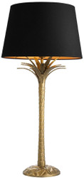 Casa Padrino luxury table lamp vintage brass / black Ø 40 x H. 83 cm - Designer Table Lamp in Palm Design