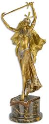 Casa Padrino luxury bronze figure sword dancer gold / silver / bronze / black 23.3 x 19.1 x H. 59.8 cm - Bronze sculpture with marble base - Decorative Accessories