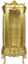 Casa Padrino baroque showcase gold 80 x 40 x H. 200 cm - Ornate baroque display cabinet with glass door and beautiful decorations - Baroque Furniture