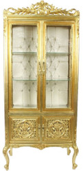 Casa Padrino baroque display case gold / cream 100 x 40 x H. 170 cm - Ornate Baroque Display Cabinet with 2 Glass Doors and Beautiful Decorations and Rhinestones