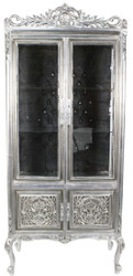 Casa Padrino baroque display case silver / black 100 x 40 x H. 170 cm - Ornate Baroque Display Cabinet with 2 Glass Doors and Beautiful Decorations and Rhinestones