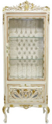 Casa Padrino baroque showcase cream / beige / gold 70 x 40 x H. 170 cm - Ornate baroque display cabinet with glass door and rhinestones - Baroque Furniture