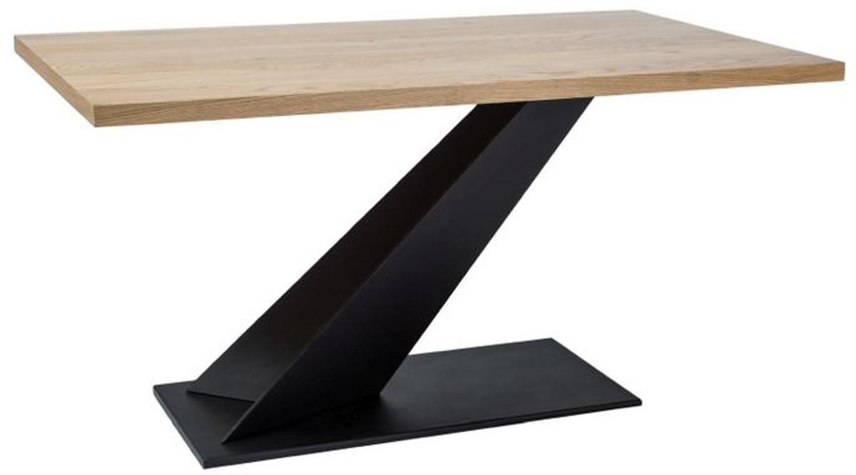 Casa Padrino designer solid wood dining table natural / black 9 x ...