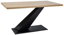 Casa Padrino designer solid wood dining table natural / black 150 x 90 x H. 78 cm - Kitchen table with solid oak table top - Dining Room Furniture