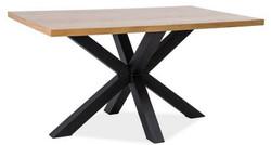 Casa Padrino Designer Massivholz Esstisch Naturfarben / Schwarz - Verschiedene Größen - Küchentisch mit massiver Eichenholz Tischplatte - Küchen Möbel