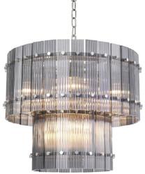 Casa Padrino Luxus Kronleuchter Grau / Silber Ø 57 x H. 47 cm - Runder Hotel & Restaurant Kronleuchter - Luxus Qualität