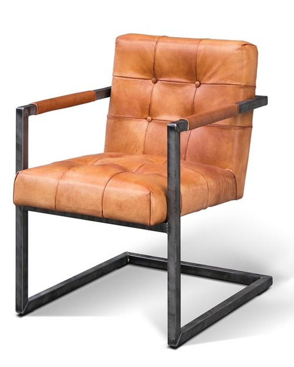 Casa Padrino Vintage Industrial Echtleder Armlehn Stuhl