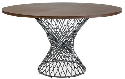953/5000 Casa Padrino luxury dining table brown / black Ø 137 x H. 75 cm - Round dining room table - Dining Room Furniture – Bild 1