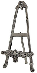 Casa Padrino Art Nouveau easel antique silver 12 x 11 x H. 27 cm - Small aluminum easel with fold-out stand - Deco Accessories