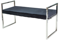 Casa Padrino luxury velvet bench with chromed stainless steel frame black / silver 103 x 41 x H. 48 cm - Living Room Furniture